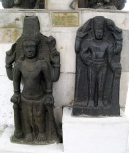 Two Vishnu statues discovered in Cibuaya site, Karawang, West Java. Estimated originated from Tarumanagara kingdom c. 7th-8th century CE. Collection of National Museum of Indonesia, Jakarta Inv. 7974 and 8416. Vishnu is Hindu god of preserver, the tubular crown bears similarities with Cambodian Khmer art.